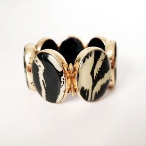 Gold Resin Animal Print Stretch Statement Bracelet